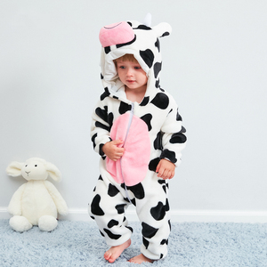 Зимняя одежда для новорожденных, детский комбинезон, пижама с капюшоном и изображением животных, костюм из коровьей ткани, комбинезоны для ...