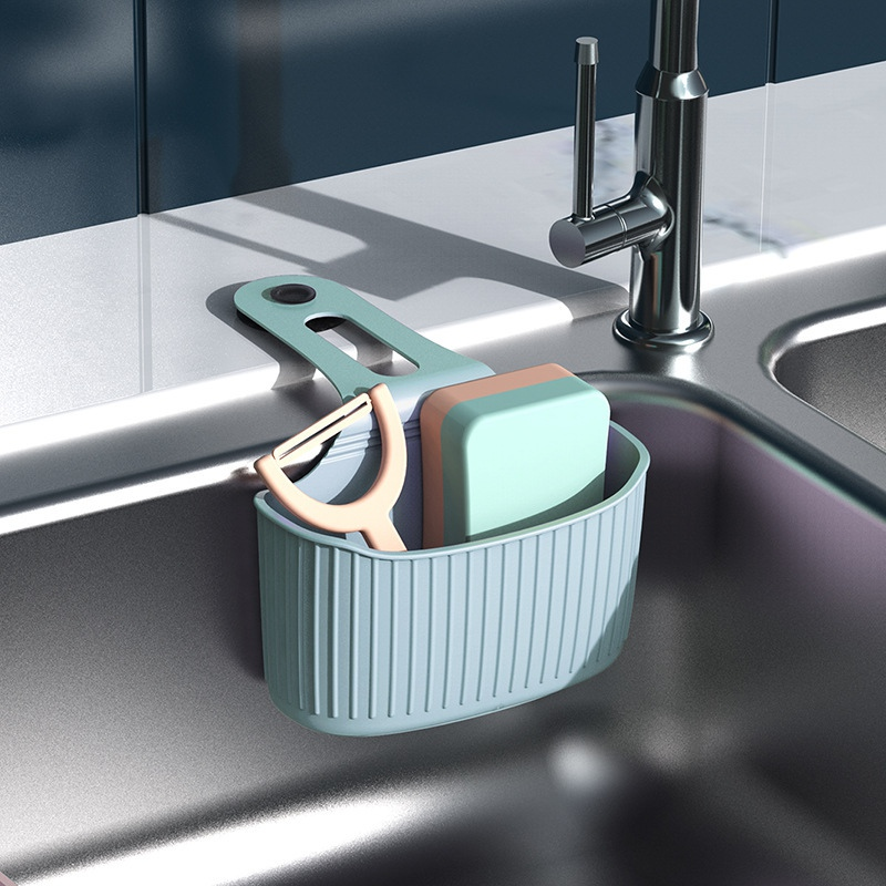 Kitchen Sink Caddy Rack With Suction Cup Home Storage Organizer Wall Mount Hanging Soap Sponge Holder Rack Drain Basket 16*9cm