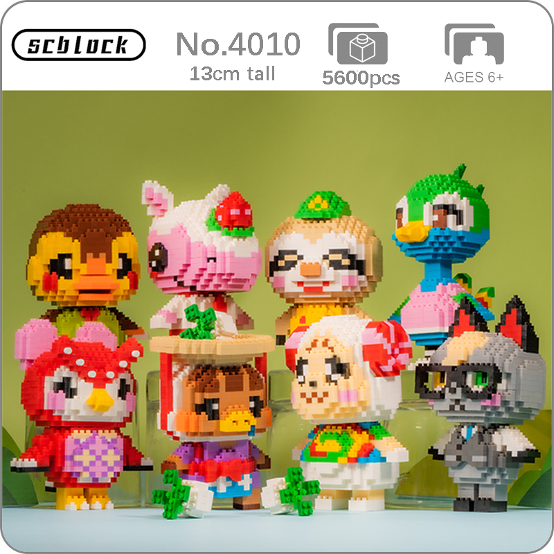 SC Game Animal Crossing Ostrich Duck Owl Cat Rhinoceros Cat Sloth Sheep Bird DIY Mini Diamond Blocks Bricks Building Toy No Box