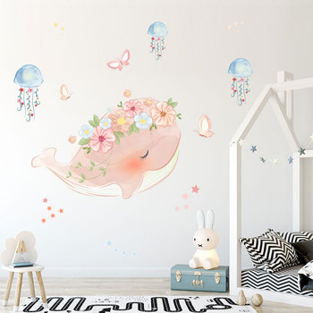 Cute Pink Whale Wreath Jellyfish Wall Sticker Kids Rooms Bedroom Living Room Decorations Mural For Home Decor Stickers Wallpaper