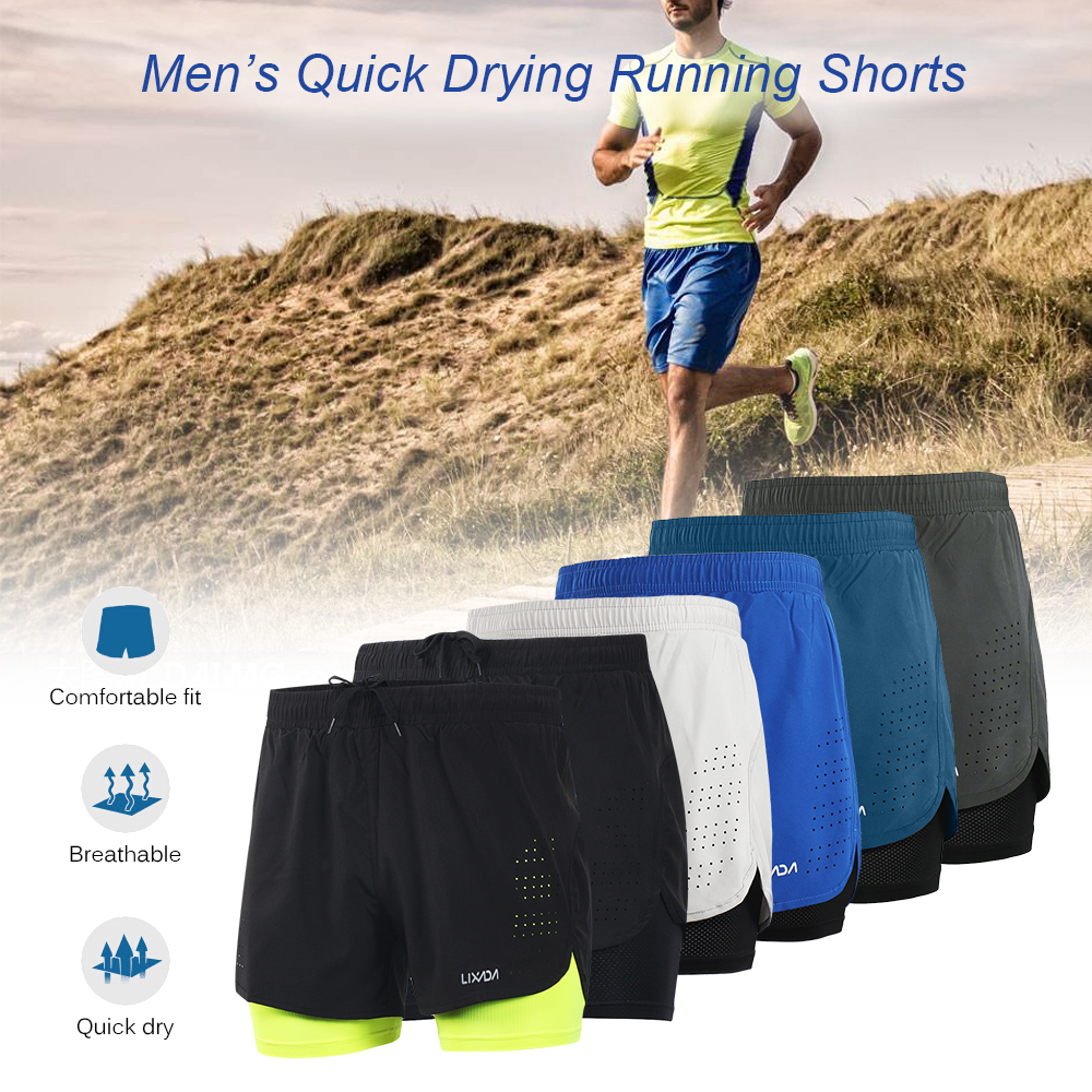 Lixada Men's Cycling Shorts Outdoor Sports Exercise Running  Quick Drying Breathable Shorts Longer Liner For Bike Shorts