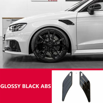 Universal ABT Style Fender Trim For Audi A3 8V S3 RS3 A4 B9 A5 A6 Gloss Black ABS Side Air Fender Vent Stickers Car Accessories