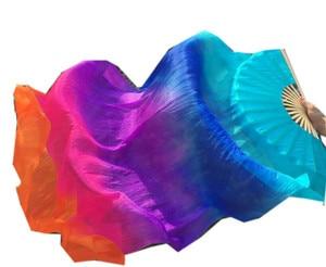 Image 5 - เด็กผู้ใหญ่Hand Real Silk Veilsไม้ไผ่Flame Belly DanceยาวพับพัดลมVeilศิลปะสีม่วงสีชมพู 120 ซม.180 ซม.