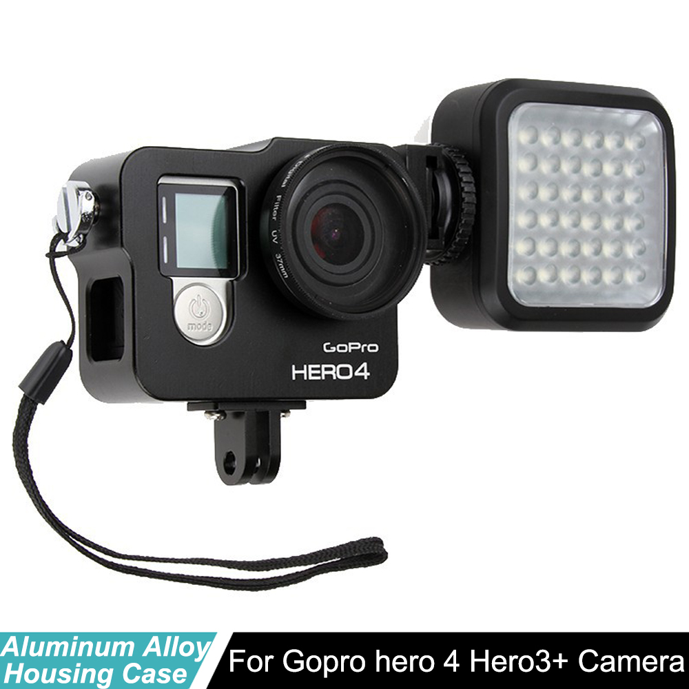 Hero 4 Hero3+ housing case Aluminum Alloy CNC Protective Shell + Lens filter + video light for Gopro hero4 3+ camera accessories