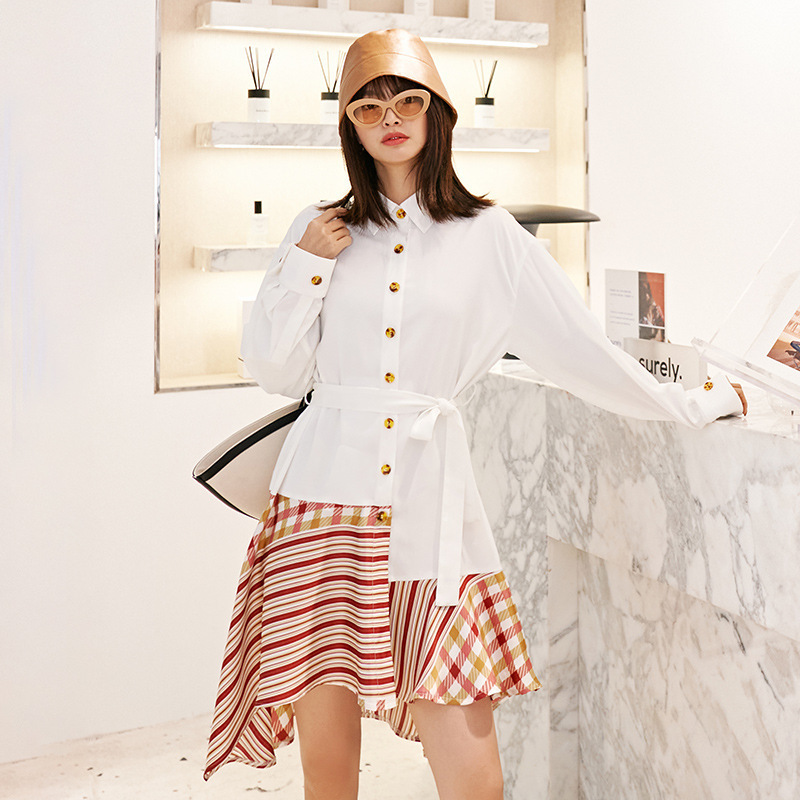 LANMREM Can Ship False Two Pieces Women's Clothes 2020 Spring New Fashion White Shirt Patchwork Striped Hem Dress Loose YH899