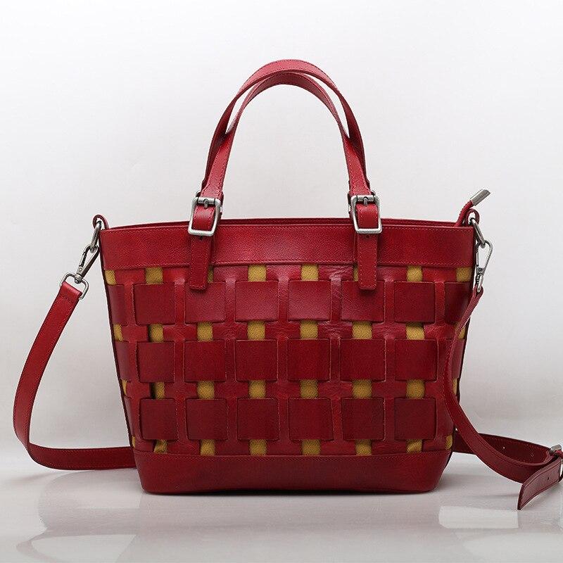 Vegetable Tanned Leather Hand Woven Bag Leather Women's Bag Top Layer Kraft Vegetable Basket Hand-held Single Shoulder Bag