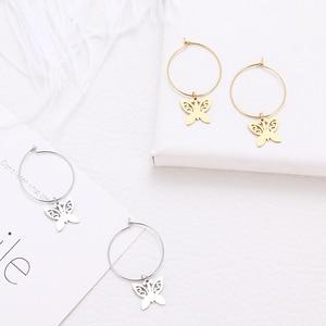 Женские классические серьги DOTIFI, круглые серьги-бабочка, серьги из нержавеющей стали с животными, ювелирные изделия для помолвки