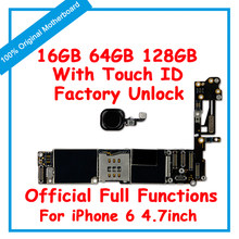 For iPhone 6 4.7inch 16G 32G 64G 128G Motherboard With Touch ID Original Unlock Mainboard Logic Board(China)