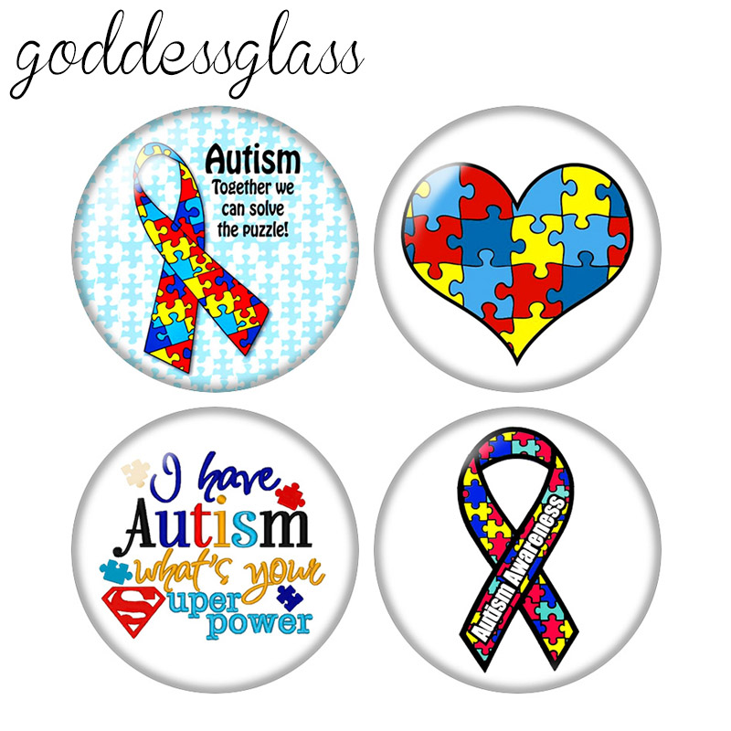 Puzzle Pieces Autism Awareness Ribbon 10pcs 12mm/18mm/20mm/25mm/30mm Round photo glass cabochon demo flat back Making findings(China)
