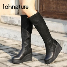 Winter Shoes Platform-Boots Johnature Genuine-Leather Fashion Women Zip Handmade Round-Toe