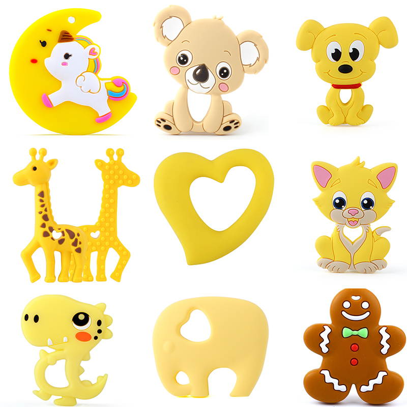Keep&Grow 1pcs Baby Animal Silicone Teethers Dog Dinosaur Koala Baby Teething Product Accessories For Pacifier Chains BPA Free|Baby Teethers| |  - title=