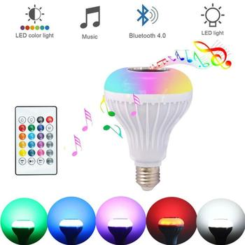 Bluetooth Speaker LED bulb Remote Controller Speaker Light E27 Boombox RGB Bulb LED Music LED Smart Playing Colorful Speake M4X5 image