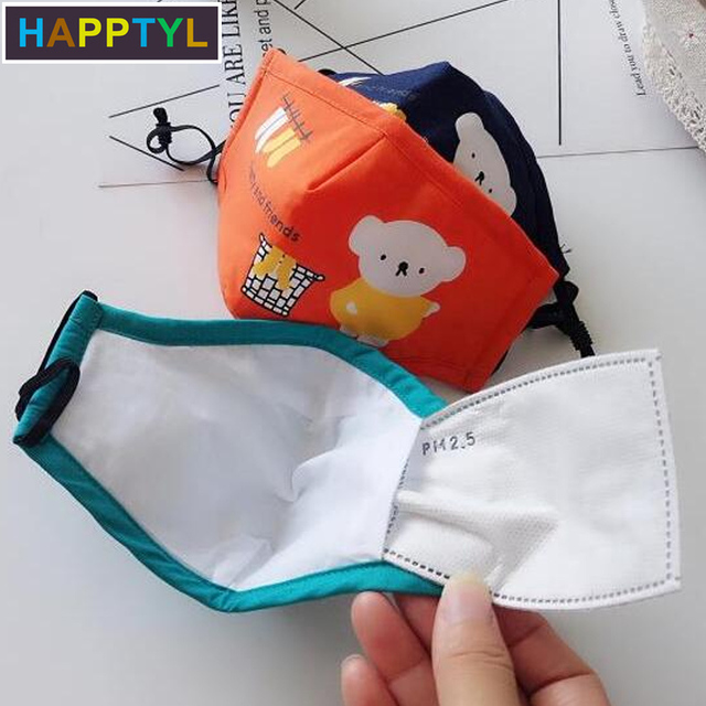 1Pcs Mouth Mask Children Kids Thicken Cotton Face Mouth Mask Pollution PM2.5 Mask Cute Bear Cartoon Animal 4