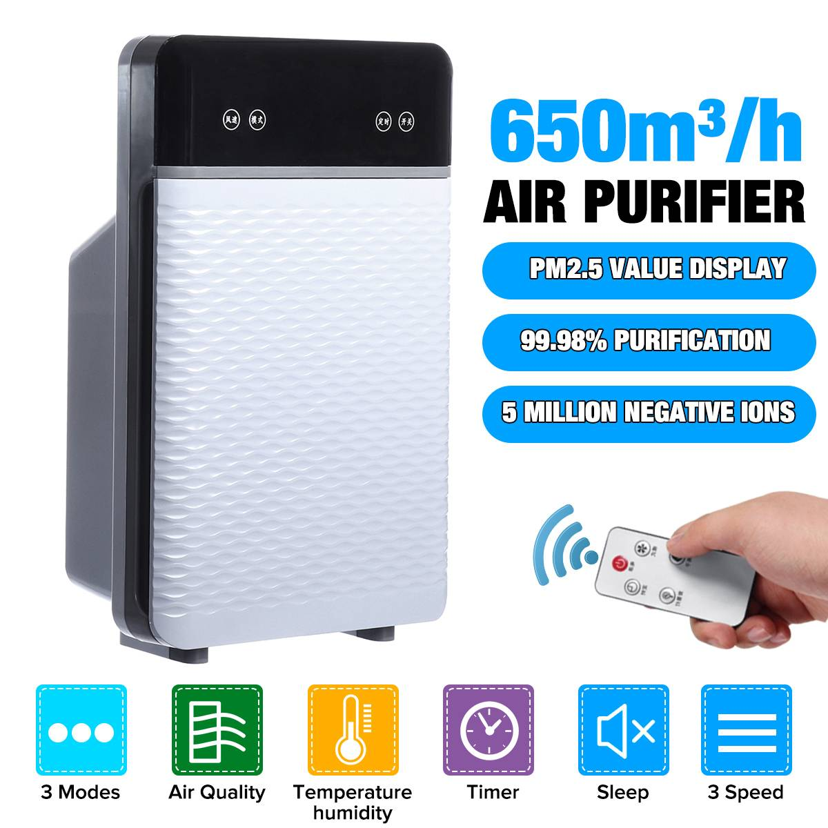 AUGIENB Air Purifier HEPA Filter Air Cleaner Fresh Ozone Home Car Smoke Formaldehyde Mist Removal Sterilizer Remote Control