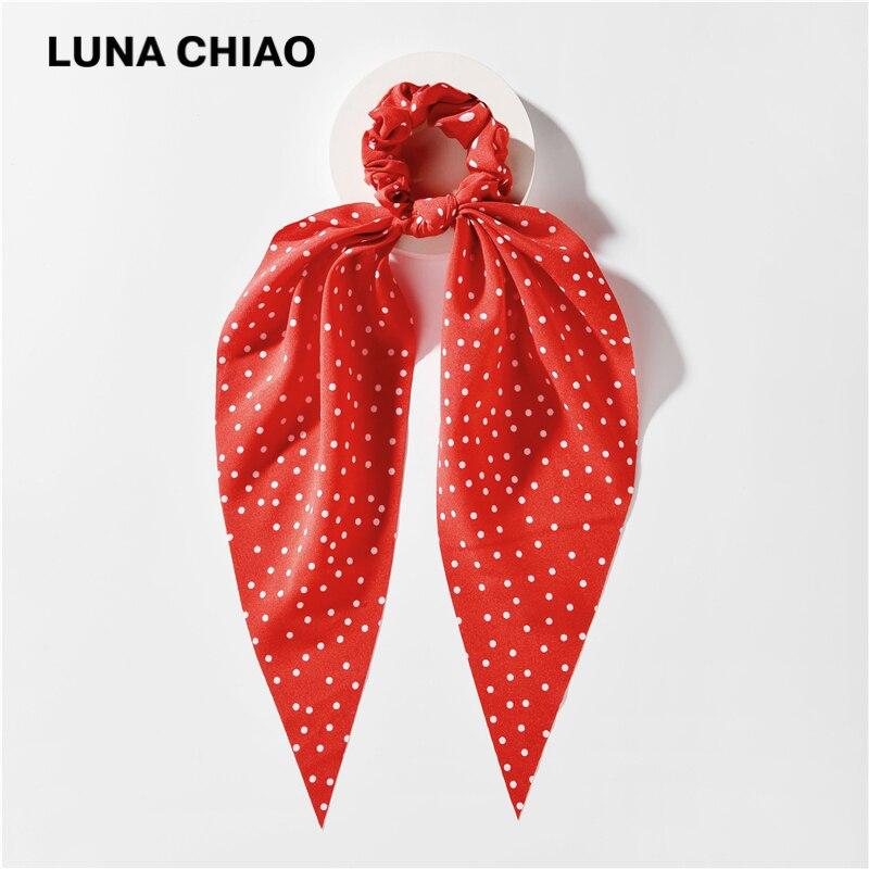 LUNA CHIAO Women Fashion Hair Bandanas Polka Dot Printed Fabric Ponytail Scarf For Head Wear