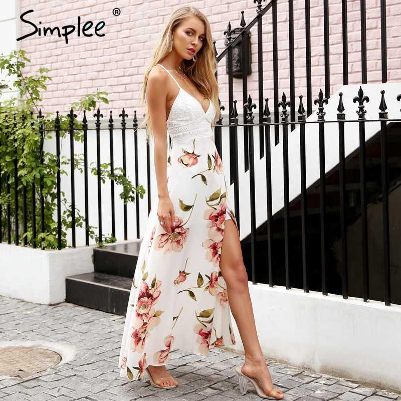Летнее женское длинное платье Simplee, повседневное кружевное эластичное длинное платье на лямках с открытой спиной и разрезом сбоку