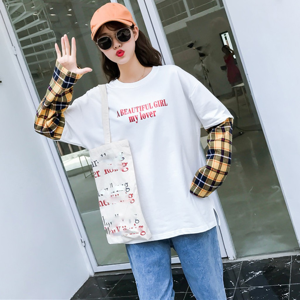 Feitong Fashion Sweatshirts Women Top O-neck Patchwork Splicing Plaid Long Sleeve Casual Loose Ladies Blouse