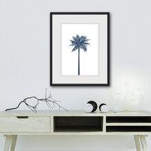 Настенная Картина на холсте темно синяя Пальма плакат и принты