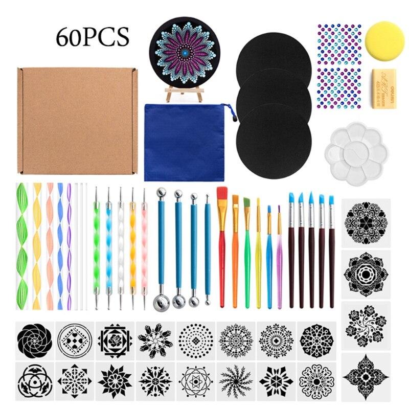 60Pcs Mandala Dotting Tools for Painting Rock Stone Stencil Acrylic Stick Gem Sticker Easel Palette Sponge Kit