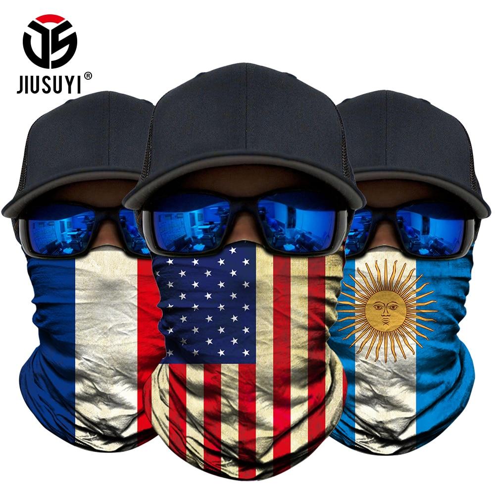 3D National Flag Print Scarf Neck Gaiter Bandana Shilds Circle Loop Summer Sun Protective Tube Scarves Men Headwear Face Mask