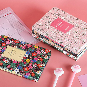 2021 Daily Weekly Monthly Planner A5 Flowery Notebook Time Memo Undated Planning Organizer Agenda Stationery agenda 2021 image