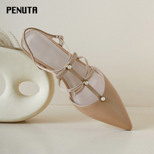 2020 PENUTA Mary Jane Shoes Lolita Pointed Toe High Heel Female Slingback Sandals T Strap Real Leather Ladies Office Shoes X0081 2020 penuta crystal embellished slingback sandals pointed toe high heel wedding shoes plus size women rhinestone party heels s01