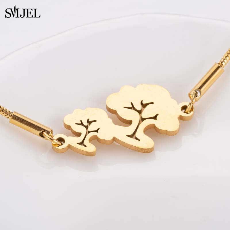 SMJEL złota drzewa bransoletki rodzina biżuteria ze stali nierdzewnej bransoleta męska natura roślina Charm bransoletka kobiety bransoletki damskie
