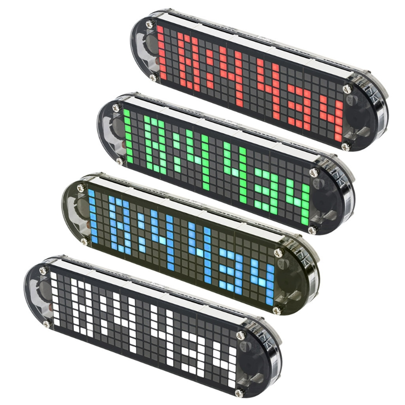 DS3231 temperature meter High Accuracy DIY Digital Dot Matrix LED Alarm Clock Kit with Transparent Case Date Time Display image