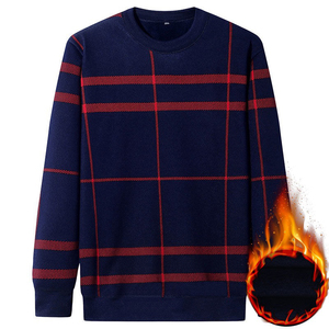 Image 5 - NIGRITY Autumn Winter New Mens Casual Knit Sweaters Plus Velvet Sweater Flannel New Pullovers Spandex O Neck Male Brand Clothes