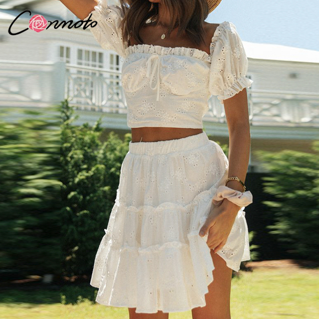 Conmoto Roman holiday style two pieces ruffled women set summer Romantic puff sleeve top and embroidery skirt Bow sash slim suit 6