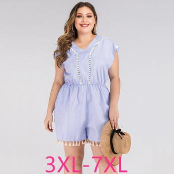 2020 summer plus size jumpsuit for women large sleeveless loose casual lace stripe V neck short jumpsuits blue 4XL 5XL 6XL 7XL