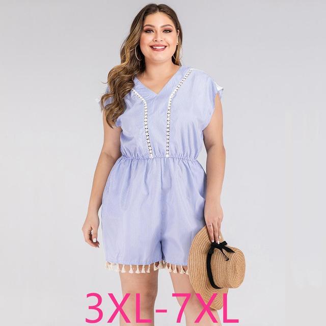 2020 summer plus size jumpsuit for women large sleeveless loose casual lace stripe V neck short jumpsuits blue 4XL 5XL 6XL 7XL