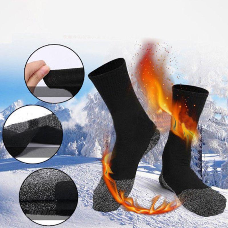 20x20cm Mens Winter Thermal Outdoor Cold Weather Mid Calf Crew Socks Alumanized Thread