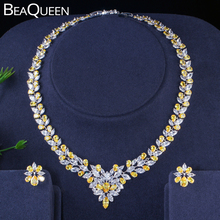 BeaQueen クリスタルネックレスイヤリングセットウェディングパーティージュエリー花嫁 JS026 ナイジェリアアフリカ黄色と白マーキス