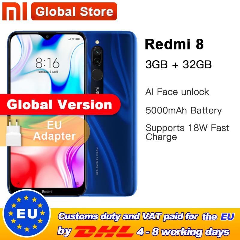 Global Version Xiaomi Redmi 8 3GB 32GB Smartphone Snapdragon 439 Octa Core 12MP Dual Camera Mobile Phone 5000mAh