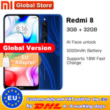 Globale Version Xiaomi Redmi 8 3GB 32GB Smartphone Snapdragon 439 Octa Core 12MP Dual Kamera Handy 5000mAh