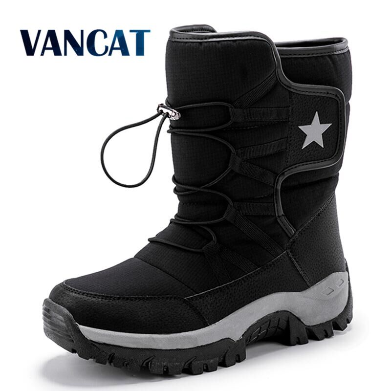 Brand Unisex Snow Boots Warm Plush Ankle Boots Winter Waterproof Men's Boots Non-slip Men Motorcycle Boots Outdoor Sneakers