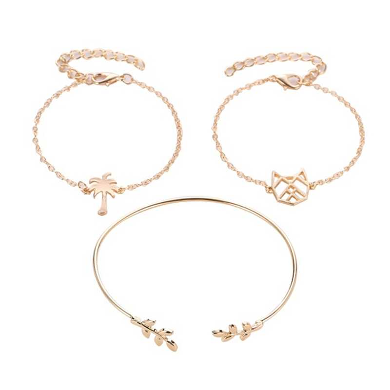 ホット販売椰子リンクチェーンブレスレット 3 個ゴールドシルバー葉オープンカフブレスレット腕輪セット女性