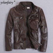 YOLANFAIRY Genuine Leather Jacket Men Real GoatSkin Leather Bomber Jack