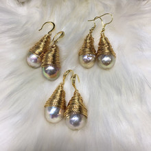 2020 Hot Sale Natural Freshwater Pearls Baroque Pearl Beads Earrings Charms Temperament Jewelry Gift for Women Size 13-14mm