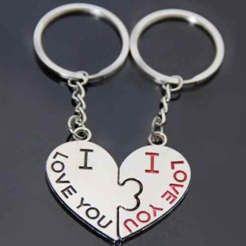 1 par EU Te Amo Beijo Coração do Anel Chave Keychain Keyfob Presente do Amante Casal Chaveiro