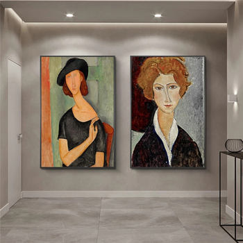 Nordic Portrait of Jeanne Hebuterne Canvas Painting By Modigliani Posters And Prints Wall Art Pictures Home Room Decor Cuadros image