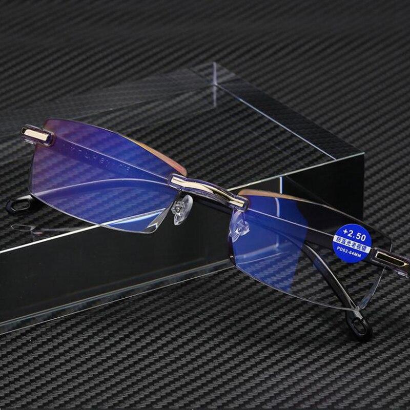 Folding Anti Blue Light Blocking Rimless Reading Glasses Women Men Square Frameless Presbyopic Glasses Diopters +1.0 1.5 2 2.5 3