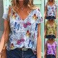 Summer Butterfly Flower Print Loose Tshirt Women's Casual V-neck Short Sleeve Shirt Tees Female Vintage Y2K Pullover Streewear
