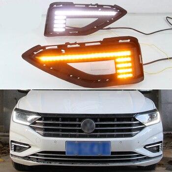 PCS For Volkswagen VW Jetta Sagitar 2019 2020 Dynamic Yellow Turn Signal Relay 12V Car DRL Lamp LED Daytime Running Light