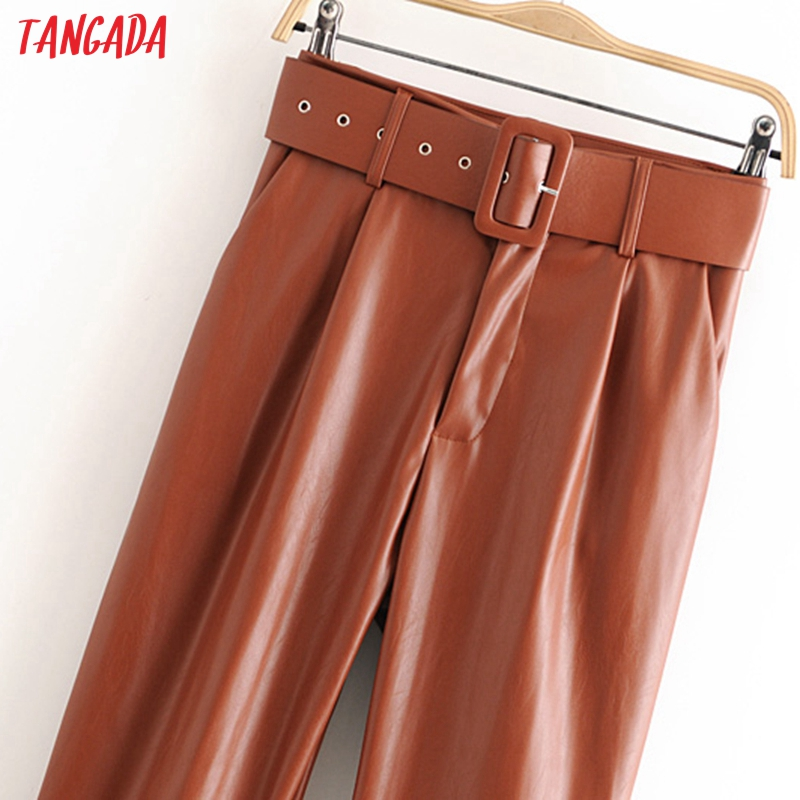 Tangada women black faux leather suit pants high waist pants sashes pockets 2019 office ladies pu leather trousers 6A05 65