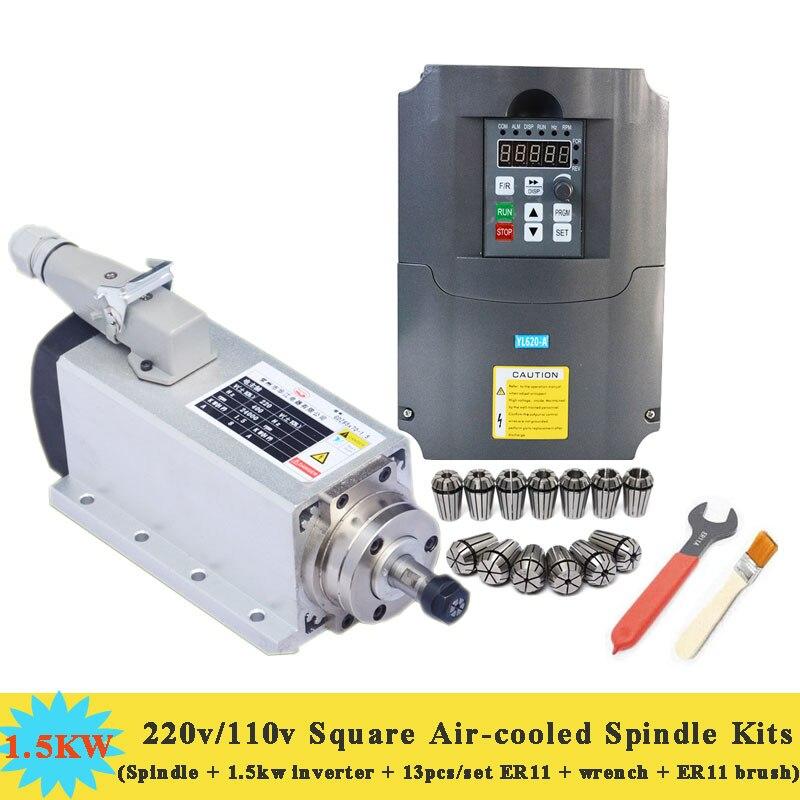 1500W Air-cooled Milling Spindle 24000 r/min 220v/110v Square Air Cooling Spindle ER11 with 1.5KW 220V VFD Inverter