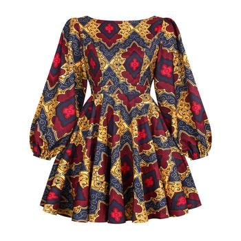 African Dashiki Print Dress Women 2021 Fashion Party African Maxi Dress Women African Clothes Long Sleeve African Dresses Women - FQII001, XL