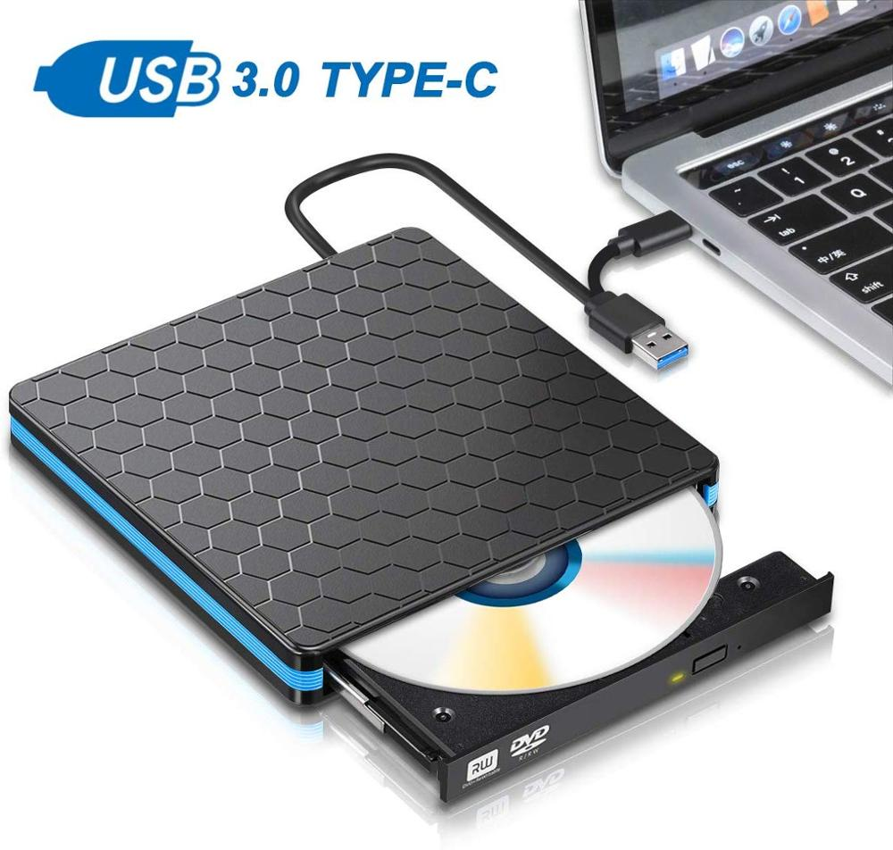 New External DVD Drive USB 3.0 Type C CD Drive Dual Port DVD-RW Player High Speed Data Transfer for Laptop Notebook Desktop PC image
