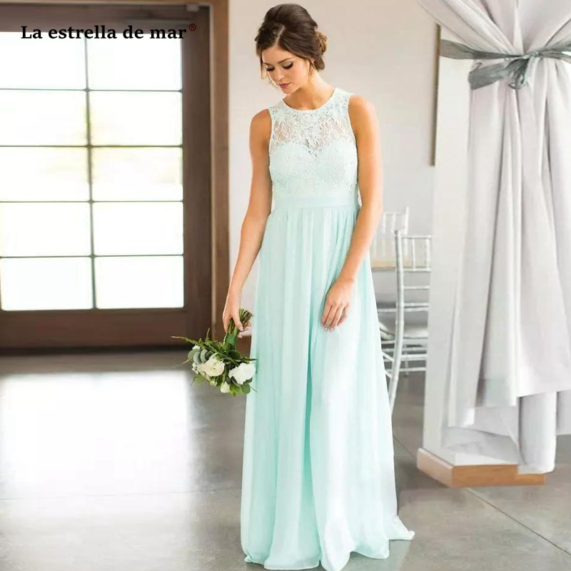 Mint Lace Country   Bridesmaids     Dresses   2019 Long J O Neck Lace Top Chiffon Wedding Guest   Dress   Floor Length Cheap vestido madri